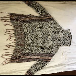 Tribal multi-color sweater with fringes